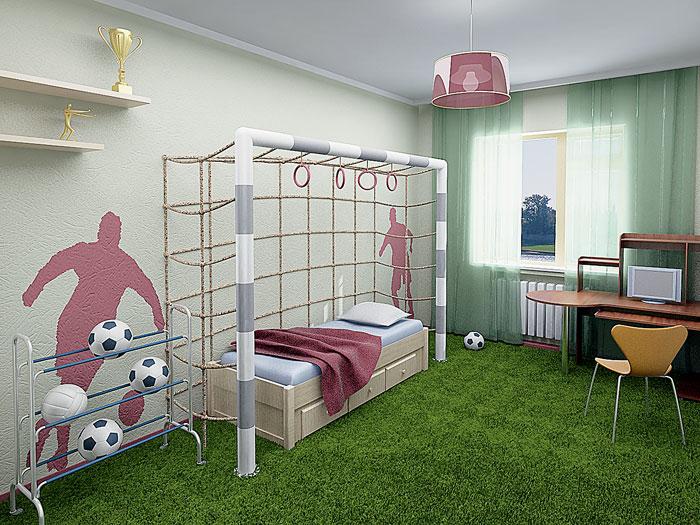 Спортивный интерьер комнаты.