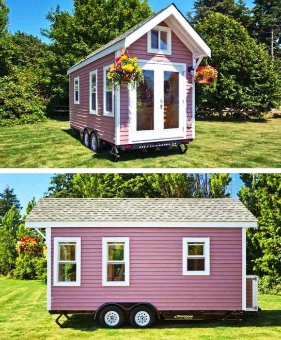 На 15 кв. метрах удалось создать уютный домик для отдыха во время путешествий («Poco Pink», Канада). | Фото: webniusy.com.