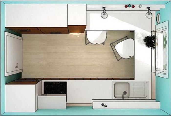 Схема структурных изменений, позволивших кардинально преобразовать пространство крошечной кухни.