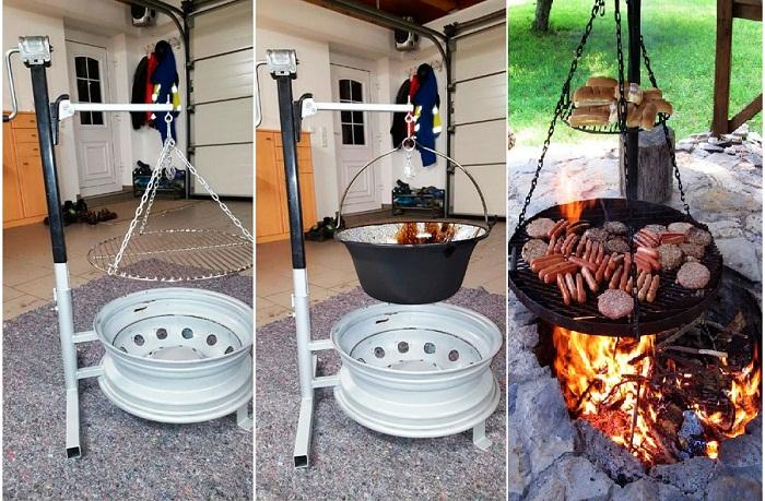 На подвесном мангале получится разместить сразу несколько уровней и готовить при разных температурах. | Фото: sam-stroitel.com.