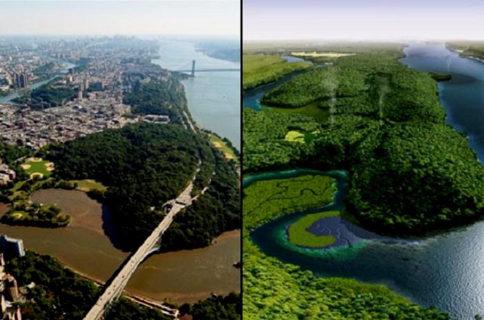 Трансформация острова за 400 лет (Маннахатта, США).