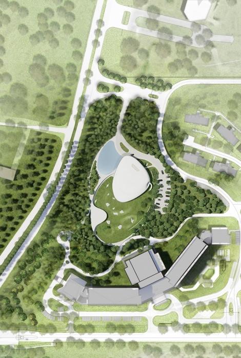 План размещения нового культурного объекта Aranya Cloud Center (дизайн-проект MAD Architects). | Фото: globalconstructionreview.com.