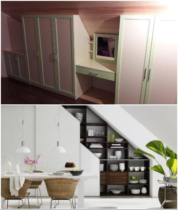 Мебель для обустройства мансардного пространства придется делать самостоятельно или заказывать.