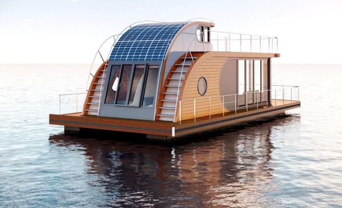 Плавучий дом, имеющий солнечные батареи, полностью энергонезависимый. | Фото: homius.ru.