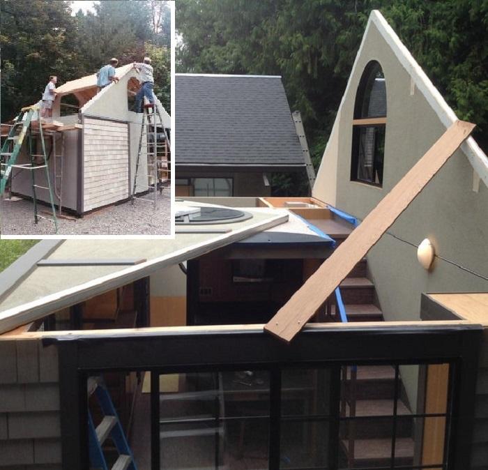 Только лишь для создания крыши понадобились помощники, со всеми остальными процессами Крис Хэйнинг справился сам. | Фото: indy100.com/ tinyhousetalk.com.
