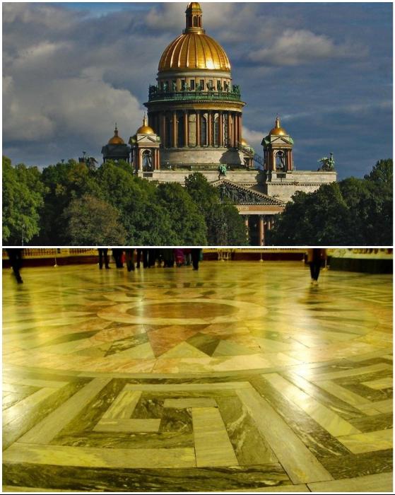 Фасад и полы Исаакиевского собора созданы из рускеальского мрамора.