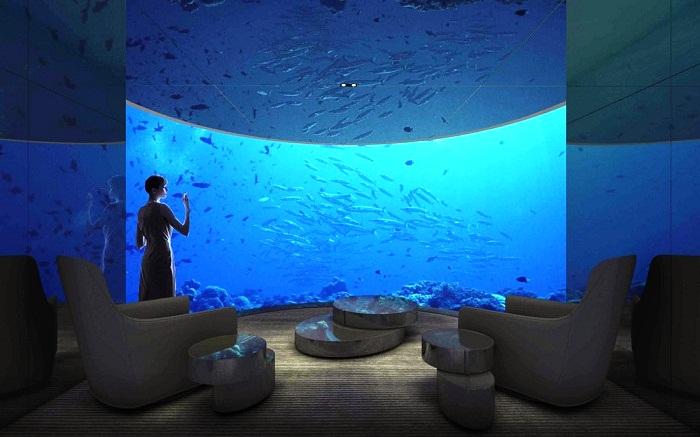 Зона отдыха с фантастическим обзором на вилле Muraka (Мальдивы).