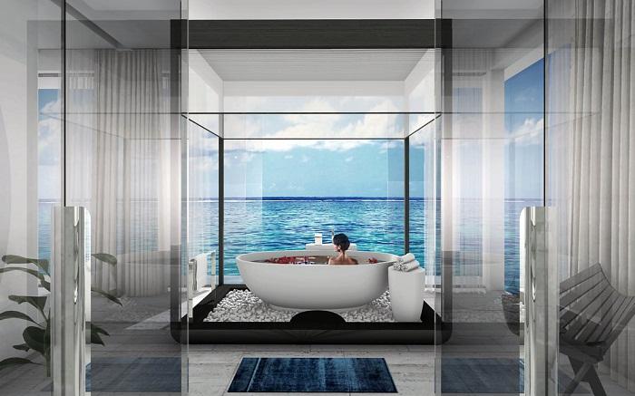 Ванная комната на верхней палубе подводной виллы Muraka (Мальдивы).