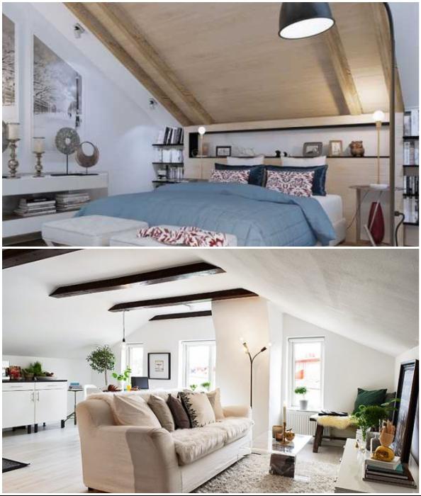 Движение в мансардных помещениях всегда усложнены из-за разной высоты потолков.