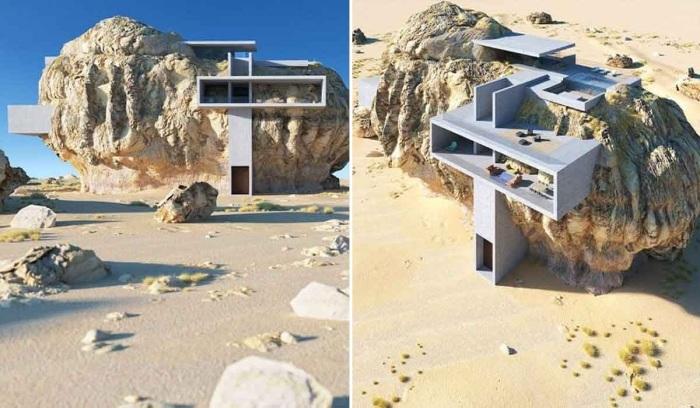 3D концептуальный проект «Дом внутри скалы» архитектора Амея Кандалгаонкара (Саудовская Аравия). | Фото: lifter.com.ua.