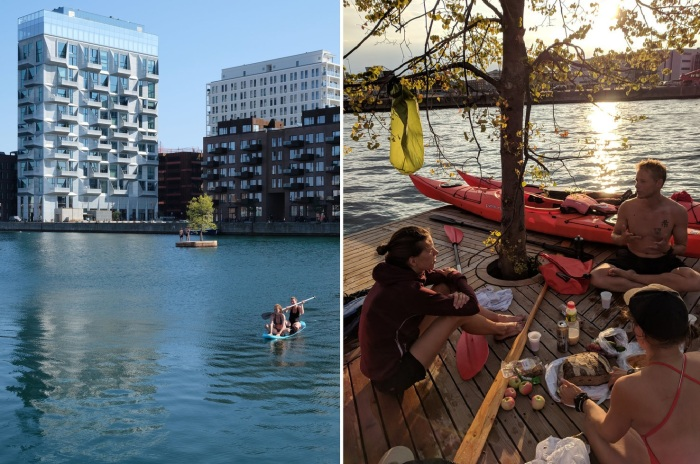 Этим счастливчикам удалось устроить пикник на рукотворном острове, ставшим «Лучшим социальным городским пространством» в 2018 г. (Copenhagen islands, Дания). | Фото: copenhagenislands.com.