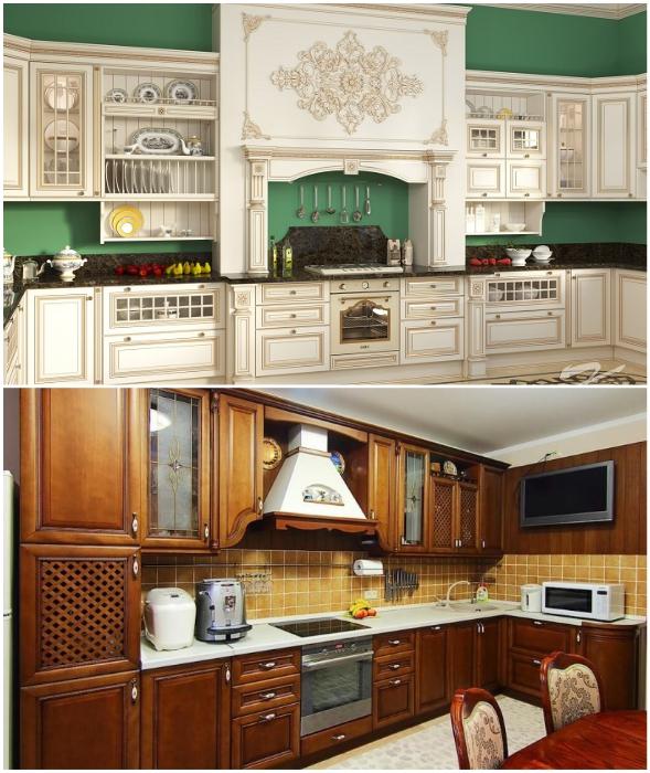 Объемные декоративные элементы или филенки на фасадах гарнитура доставят немало хлопот.