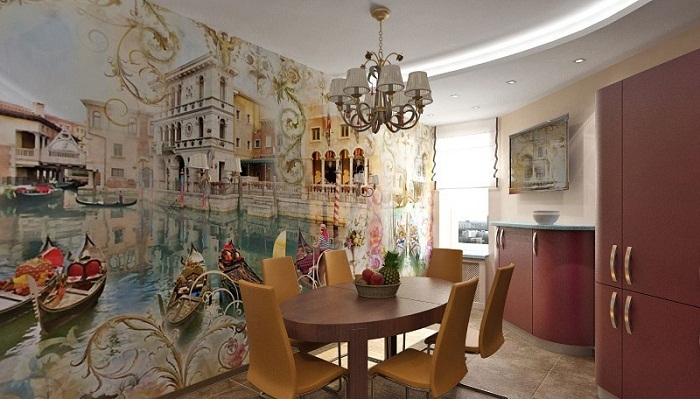Фрески во всю стену с неимоверными картинами украсят интерьер.