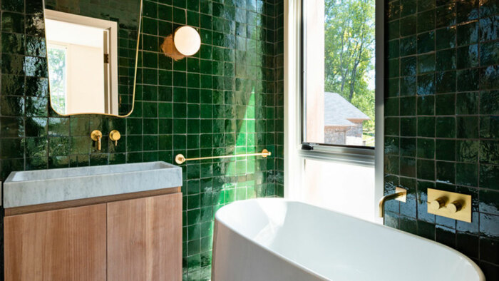 Интерьер одной из ванных комнат гостевого дома (Fold House, Гамильтон). | Фото: mymodernmet.com.