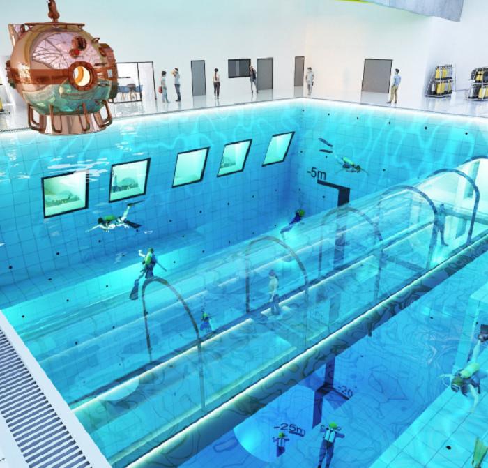 Дайверы и спортсмены смогут оттачивать свое мастерство в бассейне «DeepSpot» (Мщонов, Польша). | Фото: housebeautiful.com.