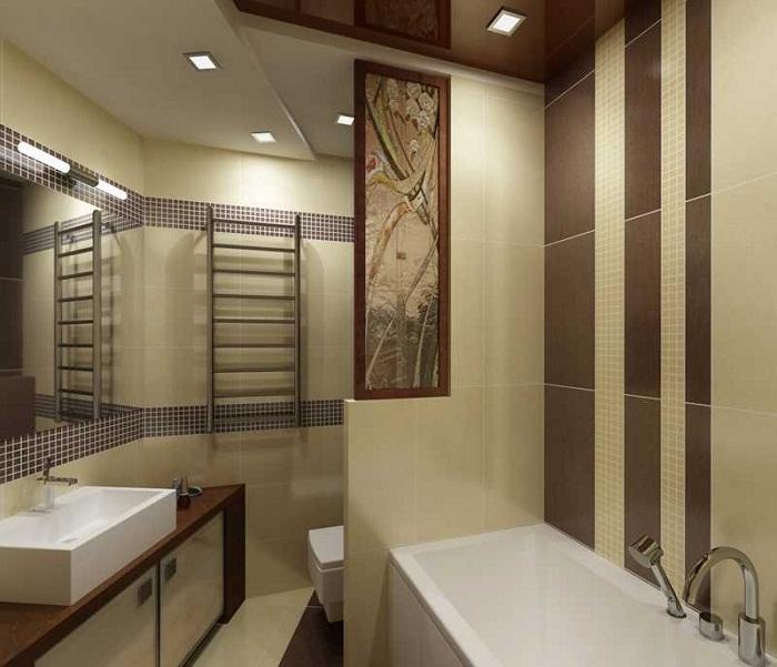 Оформление ванной комнаты в пастельных тонах, всегда выигрышный вариант.