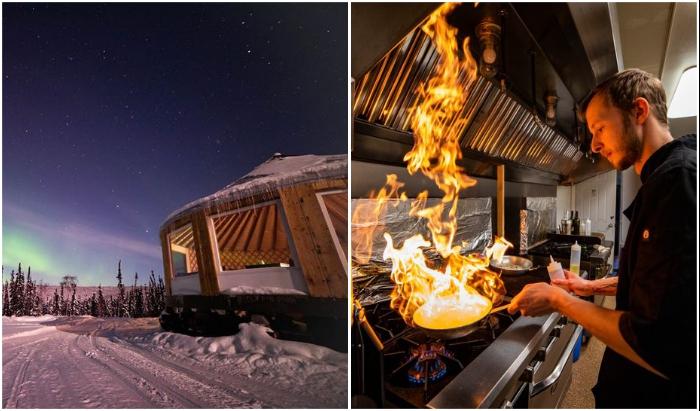 К услугам гостей ресторан с панорамными окнами и превосходной кухней (Borealis Basecamp, Аляска).