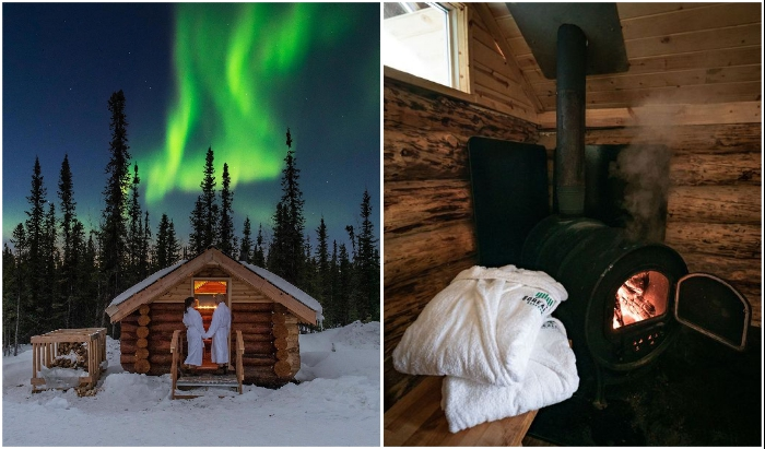 Любители горяченького могут отправиться в финскую баню (Borealis Basecamp, Аляска).