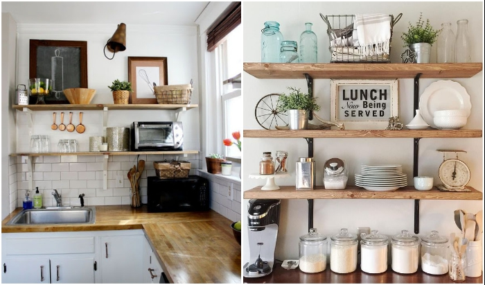 Открытые полки и стеллажи лучше не размещать в кухне.