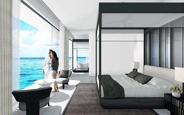 Спальня на верхней палубе подводной виллы Muraka (Мальдивы).