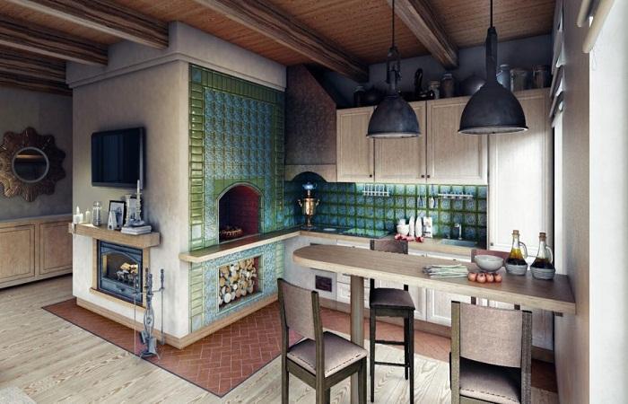 Пример интерьера совместного использования русской печи и рабочей зоны кухни.
