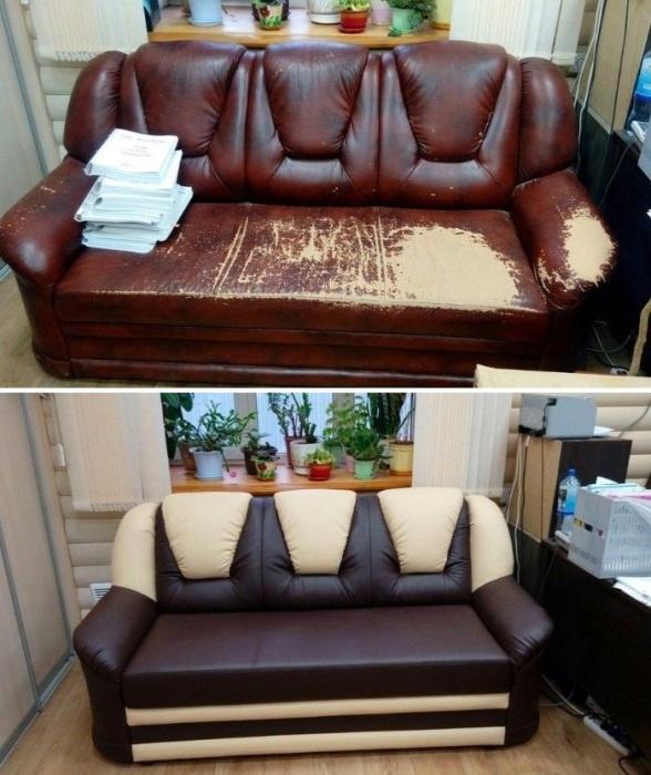 Преобразование старого кожаного дивана.  | Фото:  besplatka.ua.