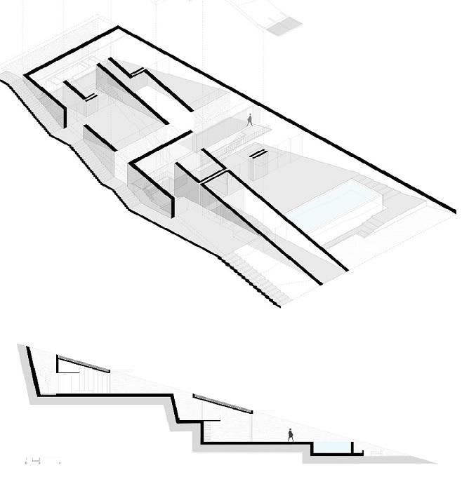 План-чертеж дома, созданного в глубине скалы (Ncaved House, о-в Серифос).