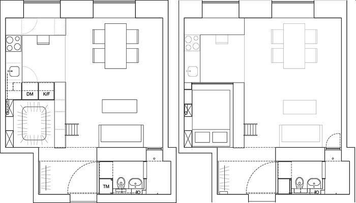 Для начала Карин Мац составила план-чертеж квартиры (Стокгольм, Швеция). | Фото: karinmatz.se.
