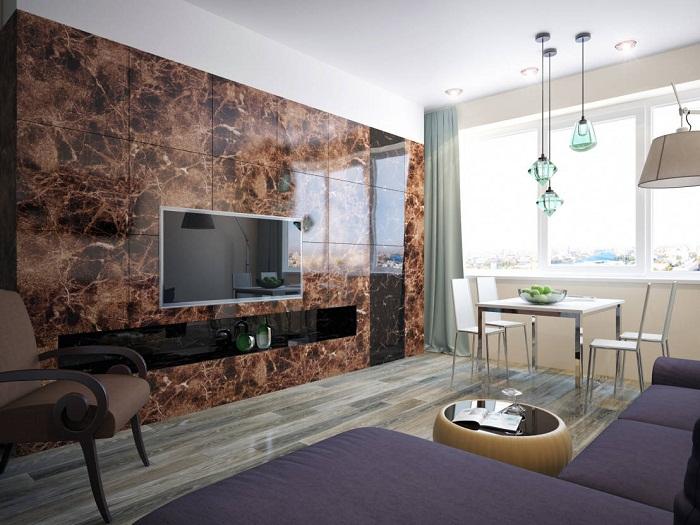 Создание мраморной стены с помощью кафеля.
