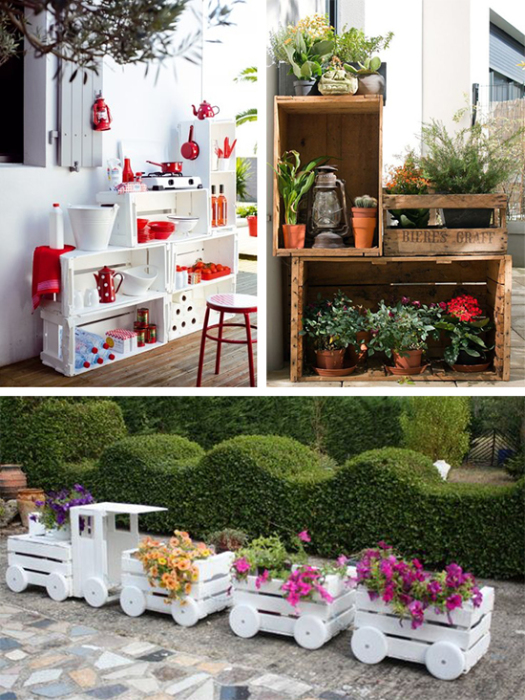Импровизированный комплект мебели, составленный из фруктовых ящиков. sait-pro-dachu.ru.