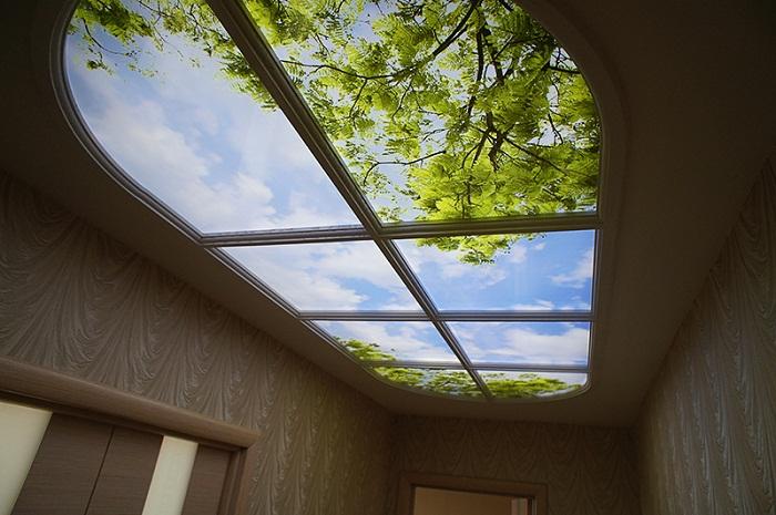 Фальш-окно на потолке может быть разной формы.