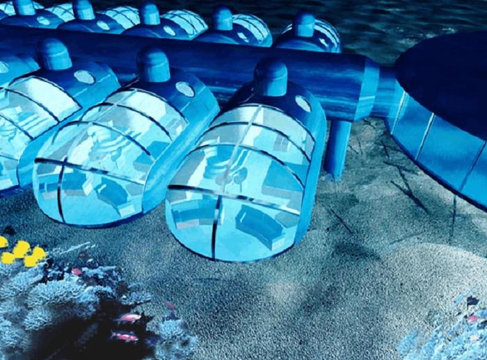 Схема размещения подводных капсул-номеров в подводных отелях. | Фото: to-world-travel.ru.