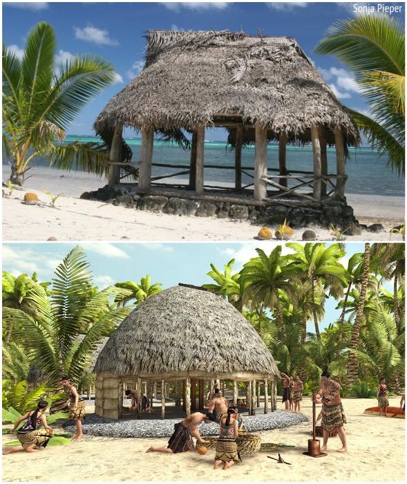 Типичная семейная усадьба фале (о-в Самоа).