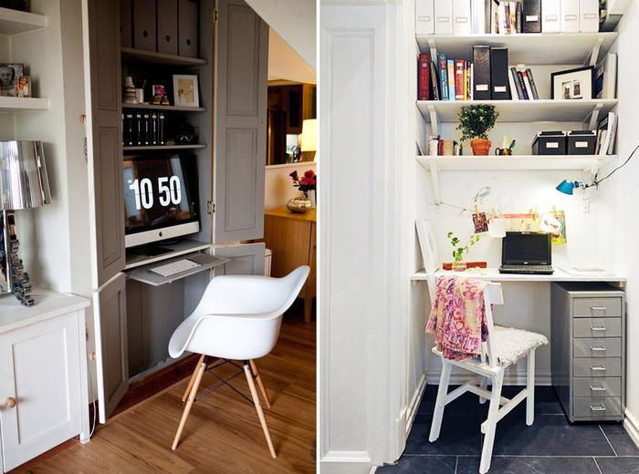 Даже самую маленькую кладовку можно переоборудовать под домашний офис. | Фото: kvartblog.mediasole.ru.