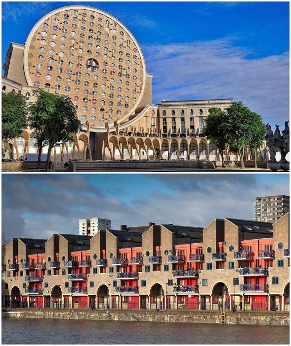 Шедевры, созданные в стиле постмодернизма, отличаются особыми художественными и дизайнерскими решениями (Жилой комплекс Camembert в Париже и Шадуэлл-Бейсин в Лондоне).