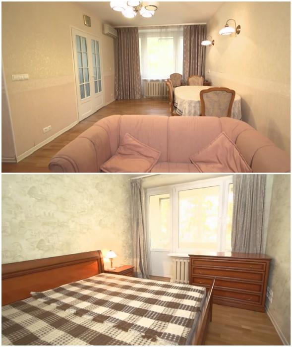 Так до ремонта выглядели гостиная и спальня московской квартиры Леонида Якубовича.