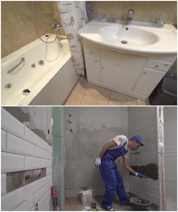 Ванную тоже решили обновить.