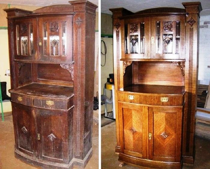 Деревянную мебель можно обновить с помощью морилки и лака. | Фото: facebook.com.