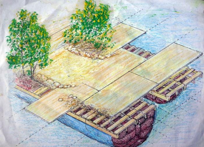 План-чертеж второго острова, созданного британским художником («Спиральный остров», Мексика). | Фото: inhabitat.com.