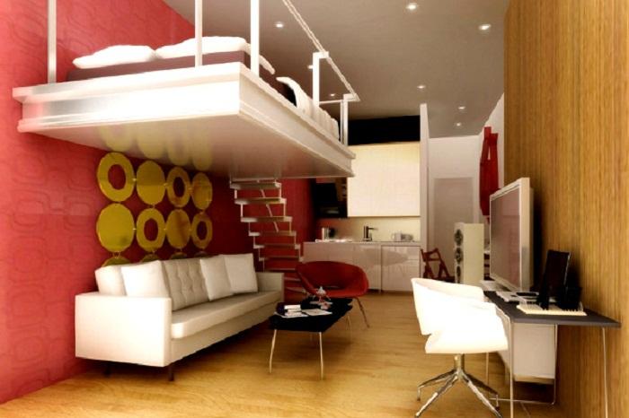 При достаточной высоте потолка спальную зону можно обустроить на втором ярусе. | Фото: foto-room.org.ua.