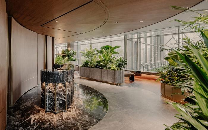 Общие лаунж-зоны на восьмом этаже Citi Wealth Hub (Ситибанк, Сингапур). | Фото: dezeen.com.