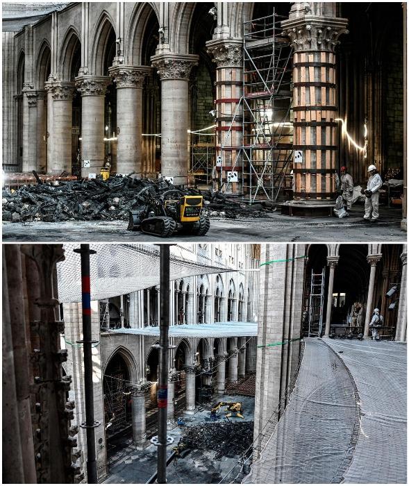 Понадобился не один месяц, чтобы расчистить завалы и освободить святыню от обгорелых обломков (Notre-Dame de Paris, лето 2019 г.).