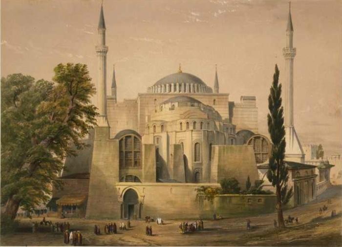 Собор Святой Софии в 1848 г. (рисунок Гаспара Фоссати, из альбома «Айя София в Константинополе»). | Фото: ros-vos.net.