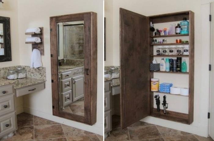 Самодельная конструкция зеркала-шкафа как нельзя лучше подойдет для хранения большого количества пузырьков и флаконов. | Фото: nurburgringuk.com.