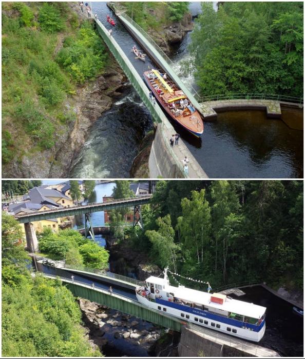Благодаря стальному водному мосту, суда смогли проходить над Далсландским водопадом (Акведук Hаverud, Швеция).