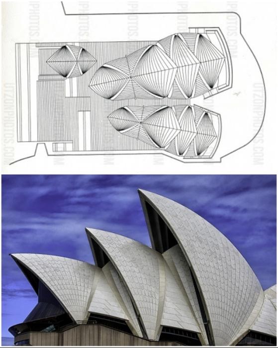 Конструкция эффектной крыши состоит из 2194 сборных секций, облицованных белее 1 млн «чешуек»-плиток (The Sydney Opera House, Австралия).
