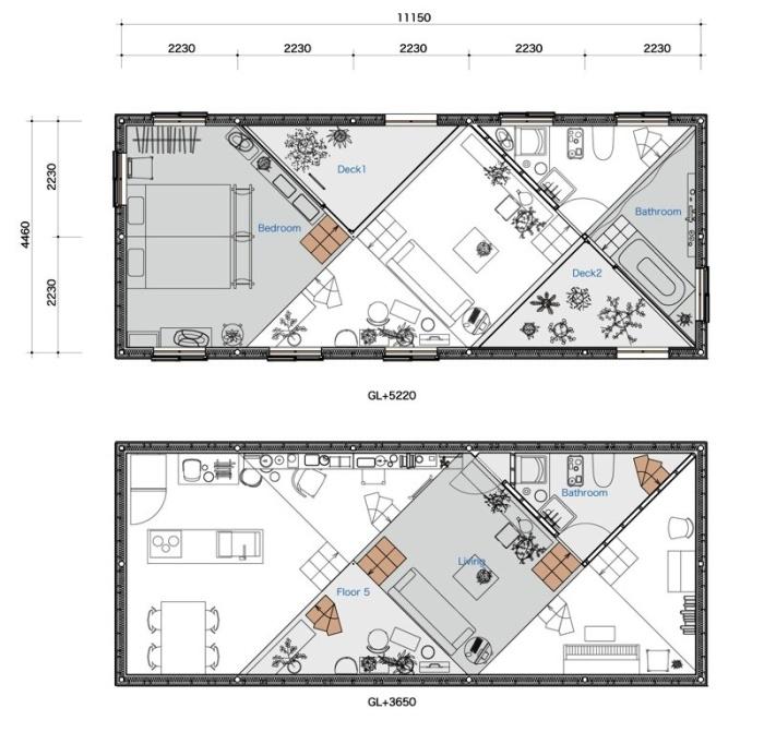 План-схема необычного дома, разработанная архитектурной студией Tato Architects (резиденция The Miyamoto). | Фото: djournal.com.ua.