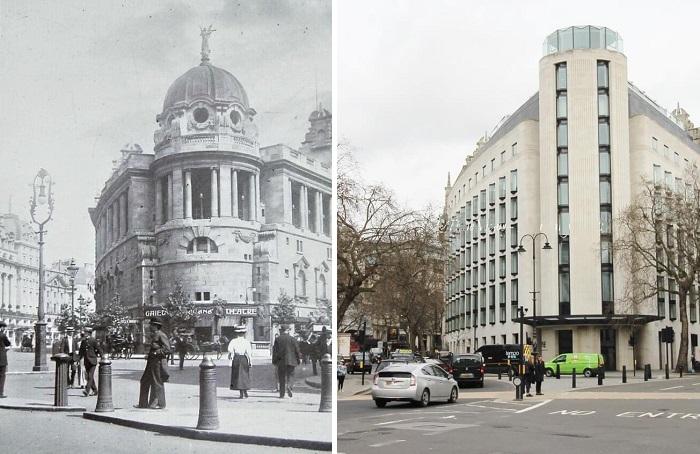 «Театр веселья» на Олдвиче в 1900 году и после современной реставрации. | Фото: timeviews.home.blog.