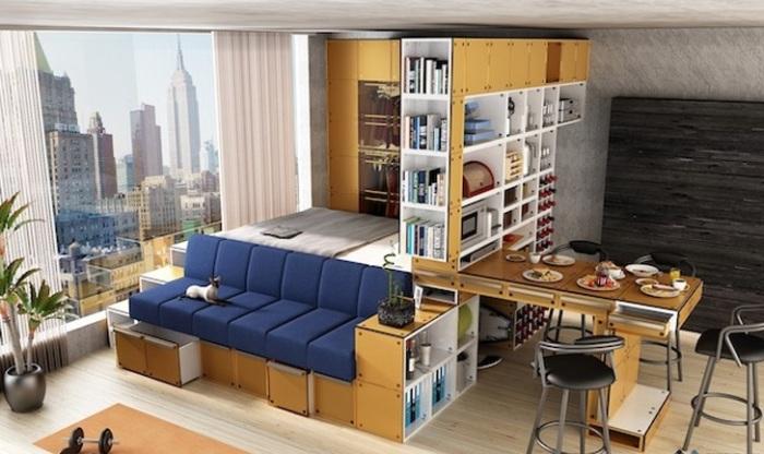 Многофункциональные мебельные системы помогут рационально использовать пространство. | Фото: inhabitat.com.