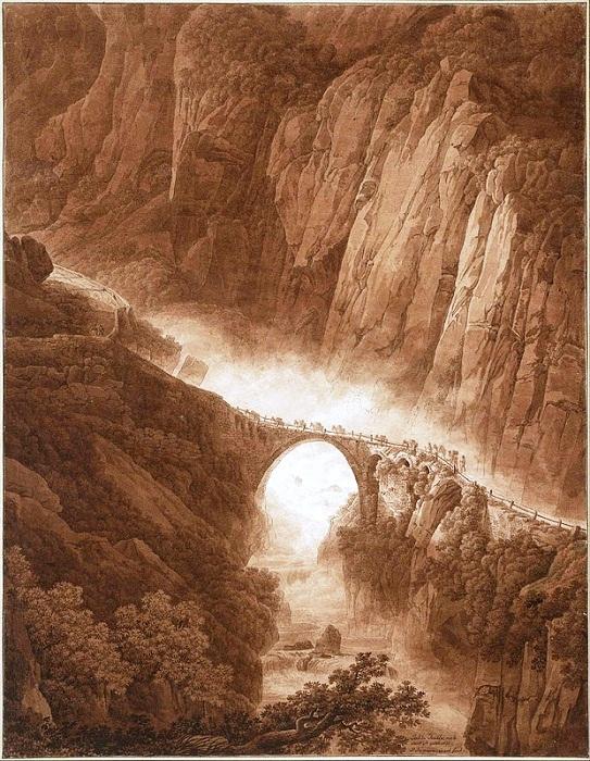 Дьявольский мост в ущелье Шелленен на пути через перевал Св. Готтарда с поездом Мула, до 1805 года. Картина Питера Бирмана (1758-1844).